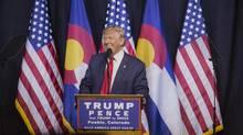 Donald Trump, 2016 Republican presidential nominee, smiles during a campaign event in Pueblo, Colorado, U.S., on Monday, Oct. 3, 2016. (Matthew Staver/Bloomberg)