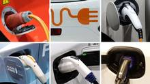 Various plugs on electric, hybrid plug-in and hydrogen cars, shown at the 2011 Geneva Motor Show. (REUTERS)
