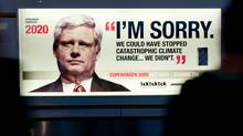 A billboard placed in Copenhagen by environmental groups shows Prime Minister Stephen Harper saying in 2020: 'I'm sorry. We could have stopped catastrophic climate change ... we didn't.' (CHRISTIAN ASLUND/Greenpeace/Aslund)