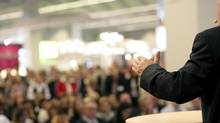 Though many business leaders seem like naturals in front of an audience, many have sought help to get over their fear of public speaking. (FRANZ PFLUEGL/GETTY IMAGES/ISTOCKPHOTO)