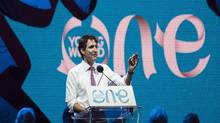 Prime Minister Justin Trudeau speaks during the One Young World summit on Parliament Hill on Wednesday, Sept. 28, 2016 in Ottawa. (Justin Tang/THE CANADIAN PRESS)