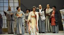 From left, Justin Welsh as Yakuside, Lillian Kilianski as Cio-Cio-San's Mother, Yannick Muriel-Noah as Cio-Cio-San, Michael Uloth as The Imperial Commissioner, Neil Craighead as The Official Registrar and John Kriter as Goro in the Canadian Opera Company's production of Madama Butterfly, 2009.