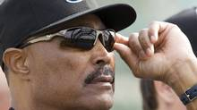 Toronto Blue Jays manager Cito Gaston looks at catchers work out at the team's MLB baseball spring training facility in Dunedin, Florida, February 22, 2010. REUTERS/Fred Thornhill (FRED THORNHILL)