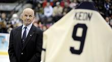 Dave Keon, seen here having his number retired by the Mississauga St. Michael Majors, will be added to the Toronto Maple Leafs Legends Row, along with Tim Horton and Turk Broda. (Tibor Kolley/The Globe and Mail)
