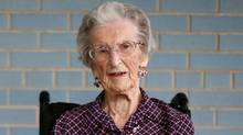 Flora Murray 102 years old pose for a photograph at St. Patrick Home in Ottawa. (Dave Chan for The Globe and Mail)