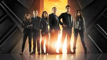 """Marvel's Agents of S.H.I.E.L.D."" stars Clark Gregg as Agent Phil Coulson, Ming-Na Wen as Agent Melinda May, Brett Dalton as Agent Grant Ward, Chloe Bennet as Skye, Iain De Caestecker as Agent Leo Fitz and Elizabeth Henstridge as Agent Jemma Simmons. (ABC)"