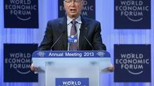 WEF founder Klaus Schwab speaks at the annual meeting of the World Economic Forum (WEF) in Davos Jan. 23, 2013. (PASCAL LAUENER/REUTERS)