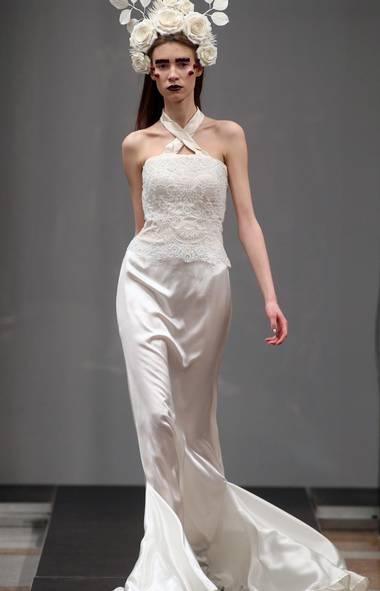A model wears a creation by Olga Kucherenko at Belarus Fashion Week in Minsk (Sergei Grits/AP)