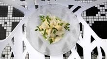 Salad of chicken and lightly pickled cauliflower is served at L'Abbatoir (Laura Leyshon for The Globe and Mail)