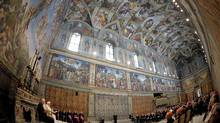 Pope Benedict XVI leads a special meeting with artists in the Sistine Chapel at the Vatican November 21, 2009. (OSSERVATORE ROMANO/REUTERS)