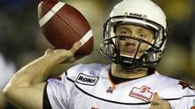 B.C. Lions quarterback Travis Lulay launches a pass against the Hamilton Tiger-Cats during first half CFL action in Hamilton, Ontario on Saturday October 22, 2011. THE CANADIAN PRESS/FRANK GUNN (FRANK GUNN/CP)