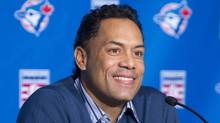 Former Blue Jays player Roberto Alomar smiles as he speaks to the media after announcement of his induction into the Major League Baseball Hall of Fame, at Rogers Centre in Toronto January 5, 2011. Alomar, a 12-time All-Star second baseman, and Bert Blyleven, a right-handed pitcher who won 287 games, were elected to the National Baseball Hall of Fame in results announced Wednesday. (FRED THORNHILL)
