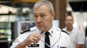 Toronto Police chief Bill Blair prepares for a press conference at police headquarters in Toronto Tuesday, June 29, 2010.