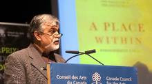 "M.G.Vassanji, from Toronto, accepts the Governor General's Literary Award for Non-Fiction for his book ""A Place Within:Rediscovering India,"" at a ceremony Tuesday, November 17, 2009 in Montreal. THE CANADIAN PRESS/Ryan Remiorz (Ryan Remiorz/The Canadian Press)"