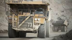 Dump trucks move waste rock around Teck's Highland Valley Copper Mine in B.C.