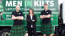 From left, Men In Kilts technician Brandon Fitzpatrick, CEO Tressa Wood and Founder Nicholas Brand. (Megan Nemeth/Courtesy of Men in Kilts)