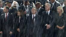 Russian President Vladimir Putin attends a military parade to mark 70 years since the city's liberation by the Red Army in Belgrade October 16, 2014. (MARKO DJURICA/REUTERS)