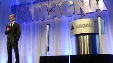 Magna CEO Don Walker speaks during the company's annual shareholder meeting in Toronto, May 8, 2014. The company's second-quarter profit is up 23 per cent over the same period last year. (AARON HARRIS/REUTERS)