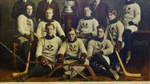 Dec. 11/06 Photo of 1907 Kenora Thitles team photo at The Lake of the Woods Museum in Kenora, ON Monday, Dec 11/06. The Thistles hockey team of 1907challenged for the Stanley Cup and won. They defeated the Montreal Wanderers 8-6 on Jan 21/1907. (Copy Photo by John Woods/The Globe and Mail)