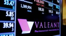 The stock price of Valeant Pharmaceuticals International, Inc. is shown on a screen above the floor of the New York Stock Exchange shortly after the opening bell in New York, December 28, 2015. (LUCAS JACKSON/REUTERS)
