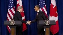 Prime Minister Stephen Harper shakes hands with U.S. President Barack Obama after taking part in a joint press conference in the Eisenhower Executive Office Building across from the White House in Washington on Feb. 4, 2011. (Sean Kilpatrick/THE CANADIAN PRESS/Sean Kilpatrick/THE CANADIAN PRESS)