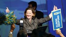 Alberta Progressive Conservative Alison Redford celebrates becoming leader of the party and the new premier following the second ballot in the party's leadership race in Edmonton, Alta., Saturday, Oct. 1, 2011. (Jeff McIntosh/Jeff McIntosh/The Canadian Press)