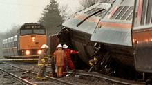 A VIA Rail train derailed between Toronto and Windsor on April 23, 1999. At least two of the five crew members on board were killed while an estimated 100 passengers were treated for various injuries. (Menno Meijer/Reuters/Menno Meijer/Reuters)