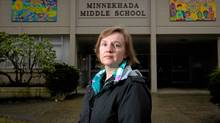 Teacher Cheryl Angst outside Minnekhada Middle School where she teaches grade 6 and 7 in Port Coquitlam, B.C. Teachers in the province are set to begin a three-day strike Monday. (Darryl Dyck/The Globe and Mail/Darryl Dyck/The Globe and Mail)