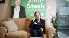 Green Party of B.C. Leader Jane Sterk uses her phone from her campaign office in Victoria on April 18, 2013. (Chad Hipolito for The Globe and Mail)