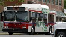 A New Flyer hybrid bus makes its way through downtown Kelowna on May 4, 2005. (Jeff Bassett/BC TRANSIT)