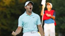 Rory McIlroy celebrates his win on the final playoff hole of the Tour Championship in Atlanta on Sunday. (Brett Davis/USA Today Sports)