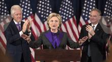 Hillary Clinton speaks in New York, Wednesday, Nov. 9, 2016, where she conceded her defeat to Republican Donald Trump after the hard-fought presidential election. (Matt Rourke/AP)