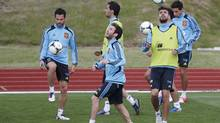Spain's soccer players attend a training session at Gniewino June 6, 2012. The defending champions have chosen Gniewino as their hub for the Euro 2012 soccer championships. (JUAN MEDINA/REUTERS)