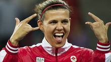 Canadian national women's soccer team captain Christine Sinclair reacts after winning the gold medal during women's soccer action during the 2011 Pan American Games in Guadalajara, Mexico on Thursday, Oct. 27, 2011. THE CANADIAN PRESS/Nathan Denette (Nathan Denette/CP)