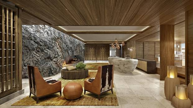 The Alpine Spa reception and lobby at the Bürgenstock Resort Lake Lucerne.