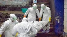 "Theresa Jacob's body being removed from her house by a Red Cross ""dead body management"" in Monrovia Monday, September 29. (Geoffrey York/the Globe and Mail)"