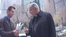 A hidden camera shows Bishop James Wingle being served with a statement of claim in Montreal. (Handout)
