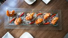 Chili Garlic Prawns are photographed at Kwan restaurant in midtown Toronto on April 24.  (Merle Robillard for The Globe and Mail)