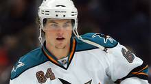 Jamie McGinn #64 of the San Jose Sharks skates during warm-up prior to their NHL game against the Anaheim Ducks at the Honda Center on November 21, 2009 in Anaheim, California. The Sharks defeated the Ducks 3-2. (Photo by Victor Decolongon/Getty Images) (Victor Decolongon/2009 Getty Images)