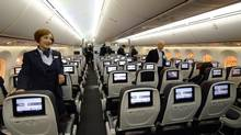 Air Canada's Boeing 787 Dreamliner economy section is seen during the unveiling of its brand new international interior product at Pearson International Airport in Toronto on May 20, 2014. (AARON HARRIS/REUTERS)