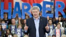 Prime Minister Stephen Harper delivers a speech to supporters during a campaign stop in Windsor, Monday April 25, 2011. (Adrian Wyld/The Canadian Press/Adrian Wyld/The Canadian Press)