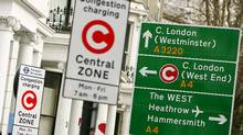 Congestion charging zone in London, England. Drivers face fees for driving across central London during weekdays. (Daniel Berehulak/Daniel Berehulak/Getty Images)