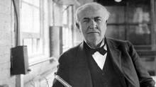 Thomas Edison is shown in his laboratory in West Orange, N.J. (J. WALTER THOMPSON)