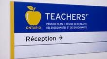 A sign hangs in the office of the Ontario Teachers' Pension Plan. (Matthew Sherwood For The Globe and Mail)