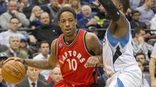 Toronto Raptors guard DeMar DeRozan drives to the basket past Minnesota Timberwolves forward Shabazz Muhammad at Target Center on Feb. 10, 2016. (Jesse Johnson/USA Today Sports)