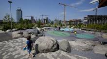The Corktown Common Park in Toronto is part of 32-hectare development that will house the Pan American athletes in 2015. (Deborah Baic/The Globe and Mail)