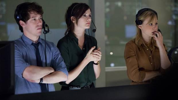 Aaron Sorkin's The Newsroom, episode 1: John Gallagher, Jr., Emily Mortimer, Alison Pill.