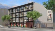 Rendering of low-cost and rental housing units planned for Vancouver's Downtown East Side by Boffo Group at 555 Cordova Street, a formerly industrial (and derelict) site. (Boffo Group)