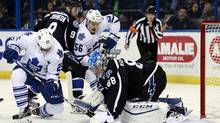 Tampa Bay Lightning goalie Andrei Vasilevskiy makes a save from Toronto Maple Leafs forward Rich Clune (25) during the first period at Amalie Arena in Tampa, Florida on Wednesday, Jan. 27, 2016. (Kim Klement/USA Today Sports)