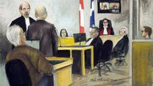 An artist's sketch of the courtroom in the Luka Magnotta preliminary hearing in Montreal on Monday, April 8, 2013. (Mike McLaughlin/THE CANADIAN PRESS)